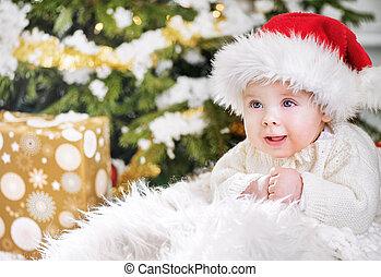Pojke, Närbild, ung, Jultomten, Stående