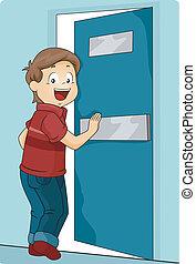 pojke, pressande, dörr, unge, komma in