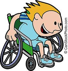 pojke, rullstol biltävlingar, illustration