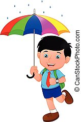pojke, skola, paraply, regna