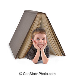 pojke, skola, stor bok, under, utbildning