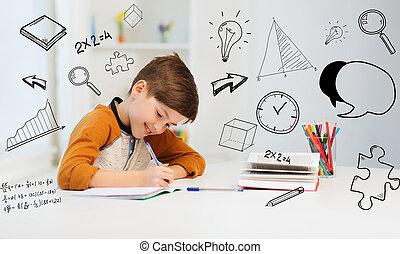 pojke, skrift, anteckningsbok, student, hem, le