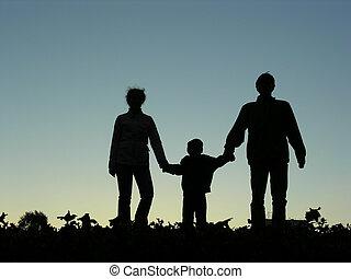 pojke, solnedgång, familj