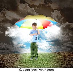 pojke, solsken, stråle, paraply, hopp