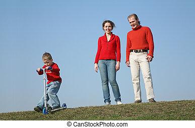 pojke, sparkcykel, familj