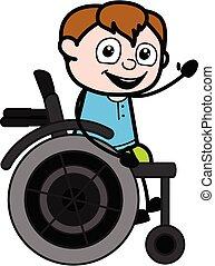 pojke, stol, hjul, tecknad film, tonåring