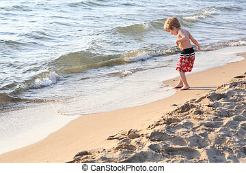 pojke, strand, ung, leka