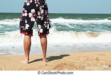pojke, stranden