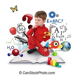 pojke, tänkande, vetenskap, ung, bok, utbildning