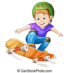 pojke, tecknad film, skridskoåkare