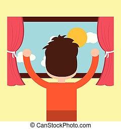 pojke, tittande, den, fönster, morgon, scen