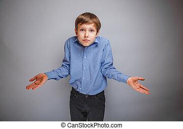 pojke, tonåring, av, europe, uppträden, brunt hår, threw,...