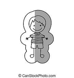 pojke, trevlig, figur, ikon