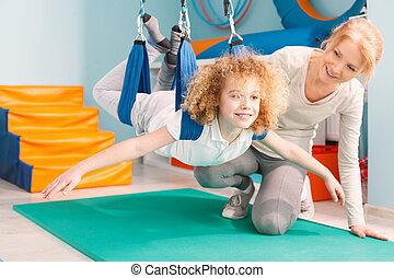 pojke, under, sensorisk, integration, terapi
