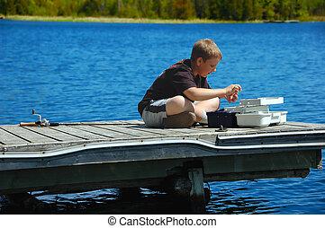 pojke, ung, fiske