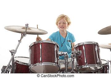 pojke, ung, trumman, leka
