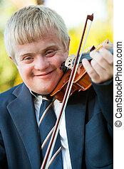 pojke, uppe, handikappat, violin., stående, nära
