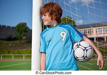 pojke, väntan, mål, ung