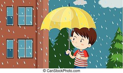 pojke, vandrande, paraply, ung, regna