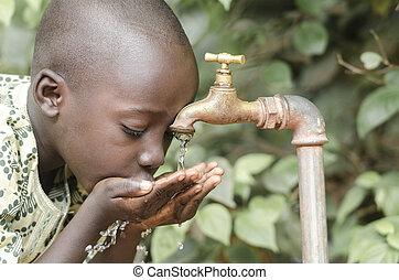 pojke, vatten, svart, ren, afrikansk, frisk, drickande