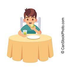 pojke, vektor, unge, tecknad film, eller, söt, illustration, eating., smaklig, hungrig, mat, middag, frukost, äta