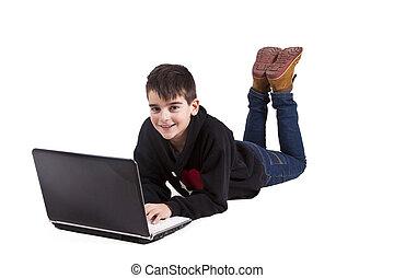 pojke, vit, dator, isolerat