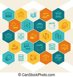 pojmový, bankovnictví, a, povolání, grafické pozadí.