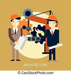 pojmový, design, architektura, ilustrace