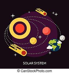 pojmový, sluneční, design, systém, ilustrace