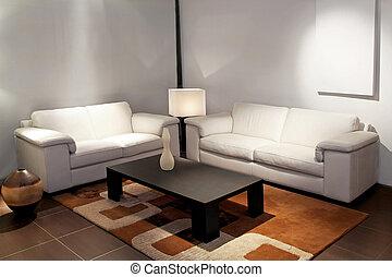 pokój, żyjący, biały