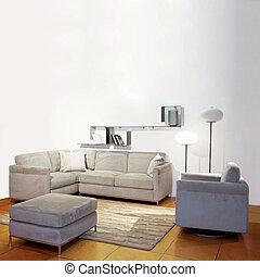pokój, żyjący, prosty