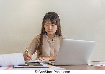 pokój, biuro, notuje pisanie, asian, pracownik