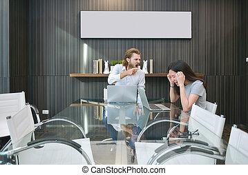 pokój, handlowy, składanie winy na kogoś, asian, pracownik, blondynka, spotkanie, człowiek