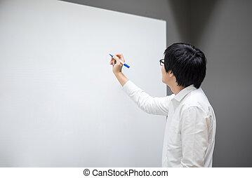 pokój, młody, pisanie, asian, biały, obsadzać spotkanie, deska