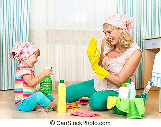 pokój, macierz, czyszczenie, dziecko, zabawa, posiadanie