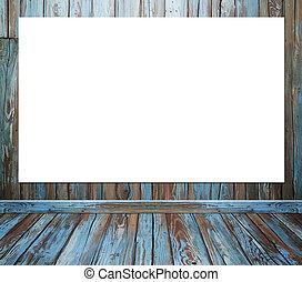 pokój, podłoga, ściana, afisz, drewno, tło, wewnętrzny, opróżniać