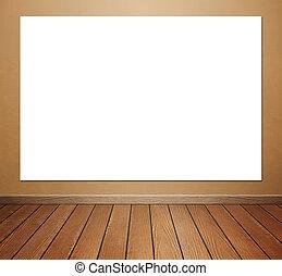 pokój, podłoga, ściana, afisz, konkretny, tło, wewnętrzny, opróżniać