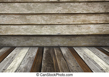 pokój, podłoga, drewniana ściana, drewno, tło, wewnętrzny