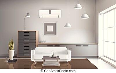 pokój, posiedzenie, realistyczny, projektować, wewnętrzny, 3d