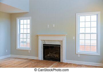 pokój, przestrzeń, domowe zbudowanie, wewnętrzny, nowy, kominek