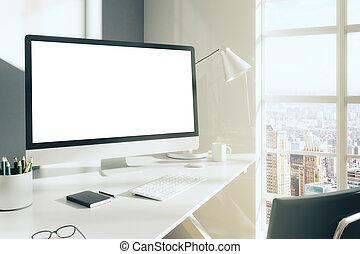 pokój, słoneczny, do góry, desktop komputer, pamiętnik, ...