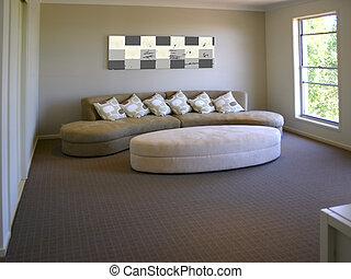 pokój, sofa, żyjący