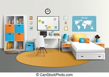 pokój, wizerunek, realistyczny, projektować, nastolatek, wewnętrzny