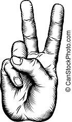 pokój znaczą, zwycięstwo, v, ręka, albo, pozdrawiać