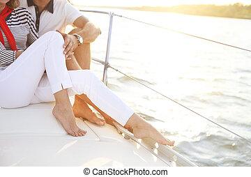 pokład, żaglówka, para, feet, morze, stting