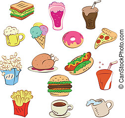 pokarmy, komplet, mocny, ikona