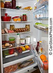 pokarmy, pełny, krajowy, chłodnia, rozmaitość