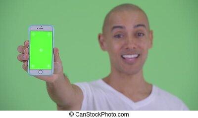 pokaz, łysy, twarz, telefon, człowiek, szczęśliwy, przystojny