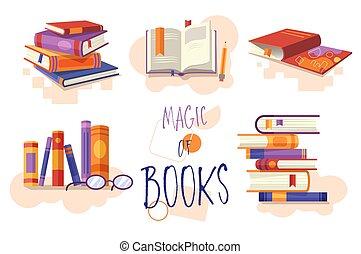 pokaz, albo, zamknięty, książka, wystawiany zamiar,...