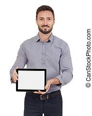 pokaz, człowiek, tabliczka, cyfrowy